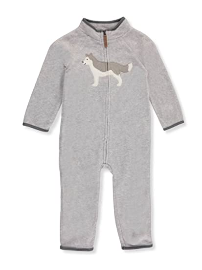 f96337f96811 Carter s Baby Boy Wolf Heathered Fleece Jumpsuit 3 Months  Amazon.in ...