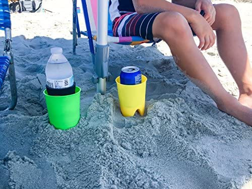 Holds Bottles Cans Prevents Loss Phones and More Shielding Them From Sand- 4 Pack Camco Beach Cup Holders- Conveniently Mount in Sand To Secure Your Drinks 51953 Cups