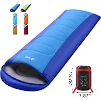 SEMOO Envelope Sleeping Bag - Lightweight Portable, Water Resistant, Comfort with Compression Sack Traveling, Backpacking, Camping, Hiking, Temp Rating 20F/-6C - Great for 4 Season