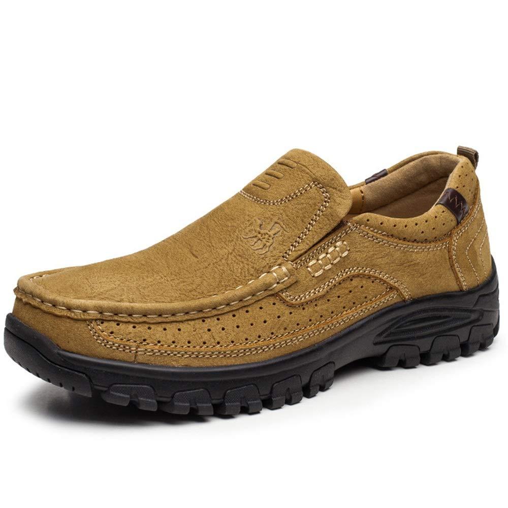 Ywqwdae Herren Schlupfschuhe Outdoor Schuhe Casual Soft Sohle Anti-Rutsch Echtleder atmungsaktiv Schuhe, braun, UK 5.5