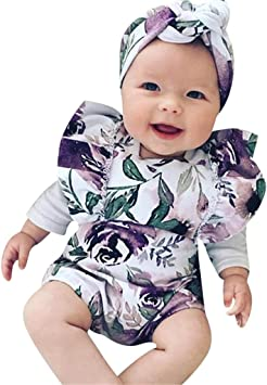 Headband Outfits Set Newborn Infant Baby Girl Clothes Jumpsuit Romper Bodysuit