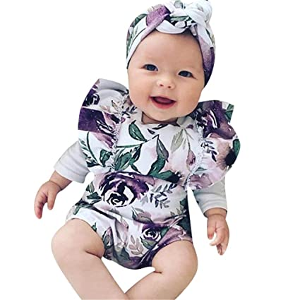 e02c88e12 Amazon.com: POTO Newborn Infant Baby Girl Floral Printed Romper  Jumpsuit+Headband Outfits Set Bodysuit Baby Clothes: Sports & Outdoors