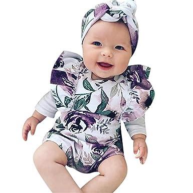 0119185305c0 Mysky Summer Newborn Infant Baby Floral Print Romper+Headband Outfits Set  Purple