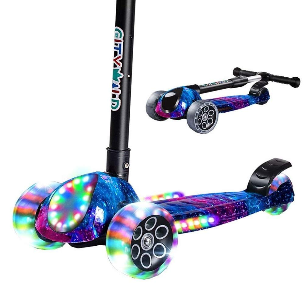 子供用3輪スクーター、2歳から14歳までの子供用キックキックスクーター調節可能な高さ