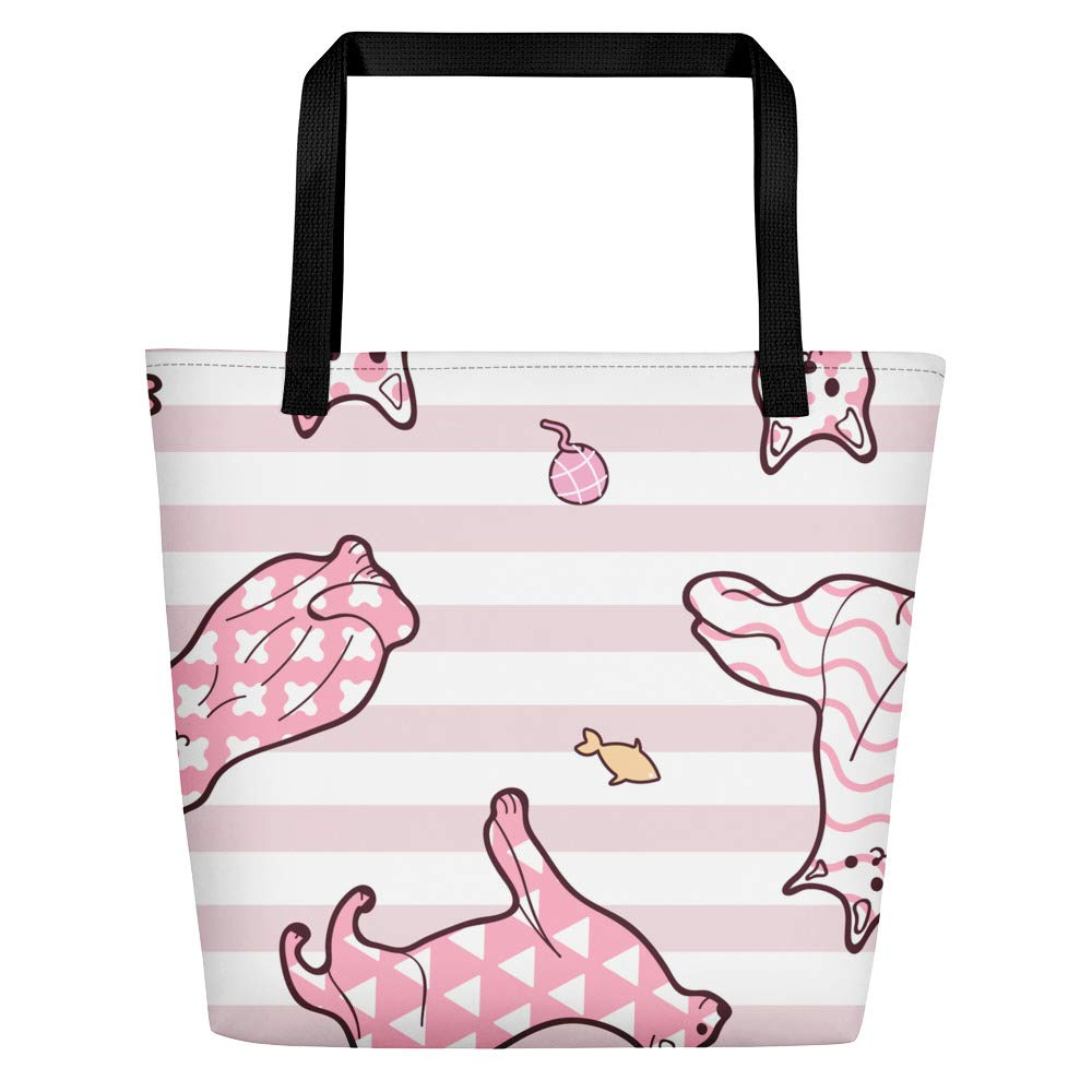 Pink Pinstripe Cat Lover Beach Bag