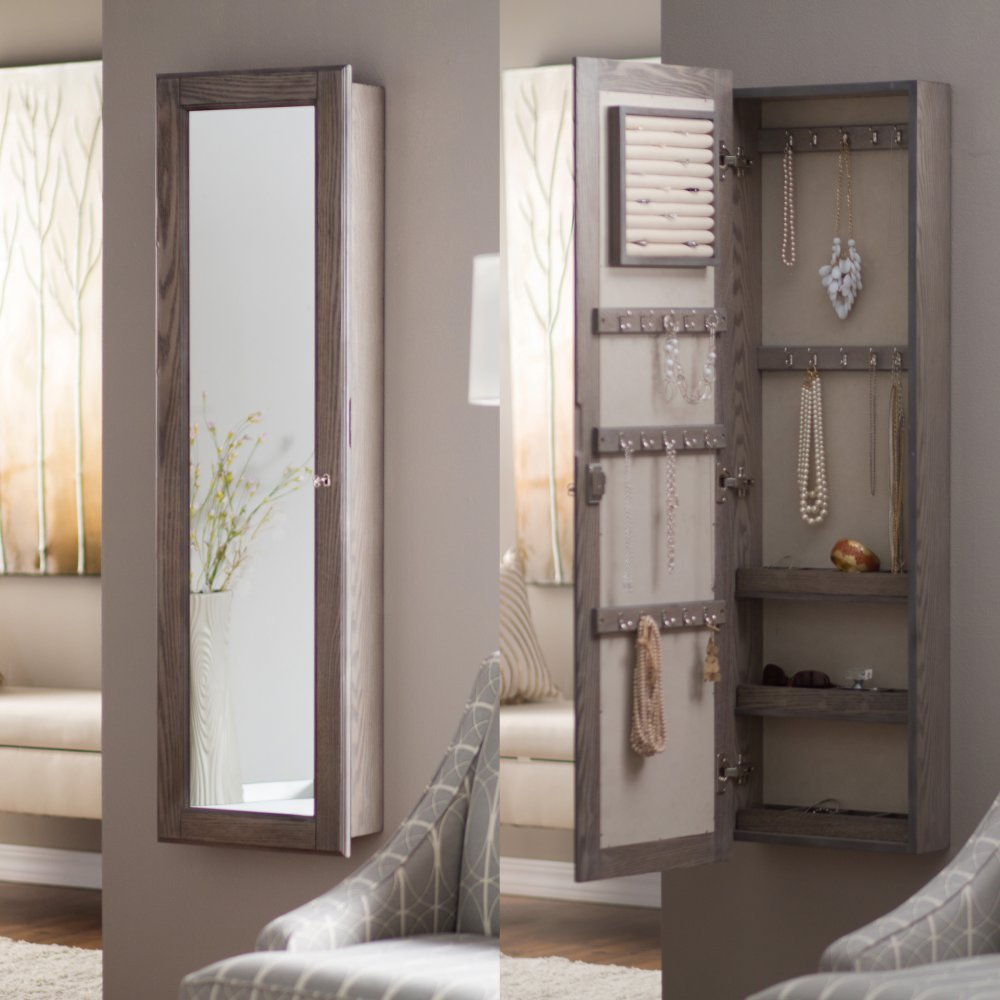 Amazoncom Wall Mounted Locking Mirrored Jewelry Armoire
