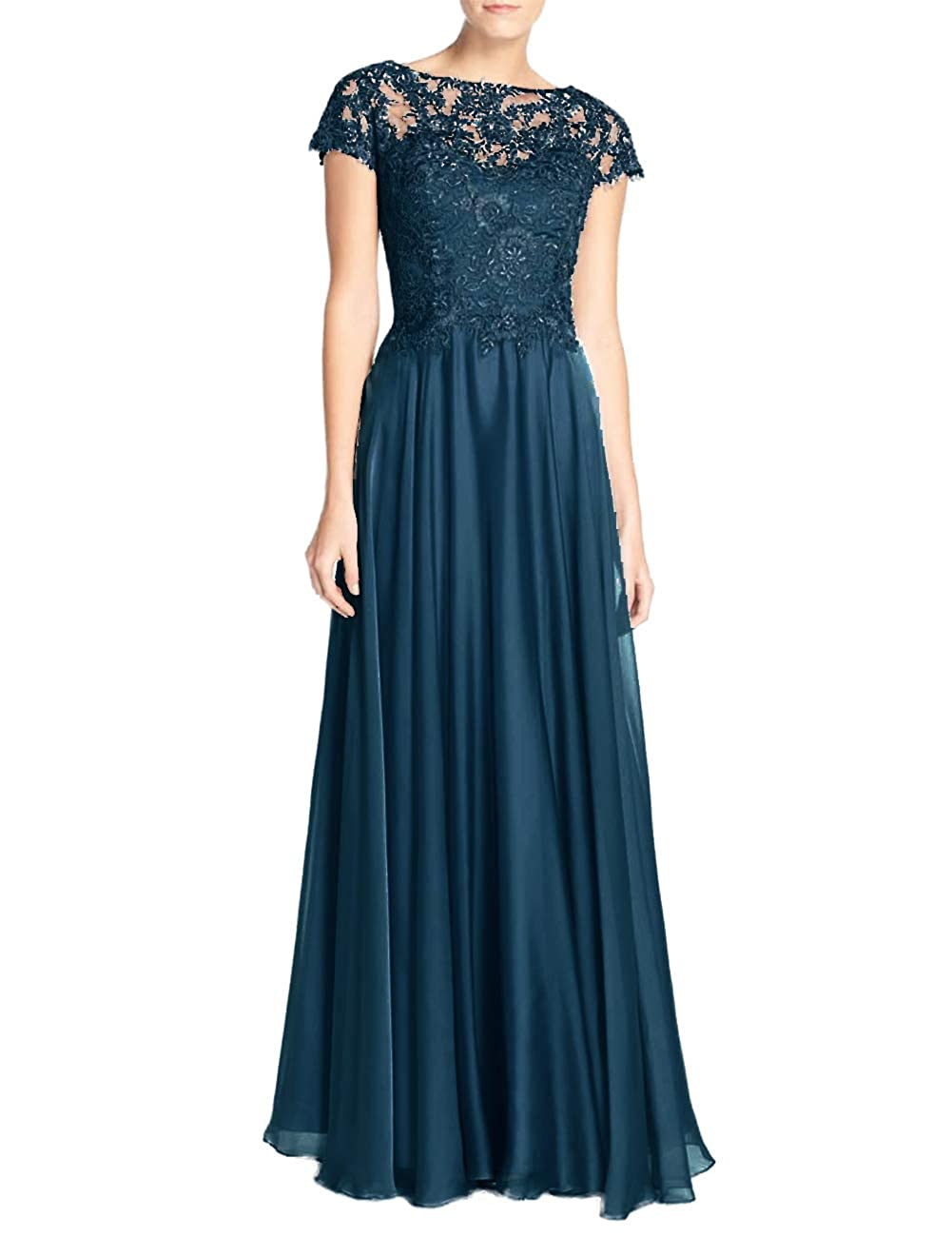 Teal Mother of The Bride Dresses with Short Sleeves Plus Size Mother Gowns and Evening Dresses Formal Dress