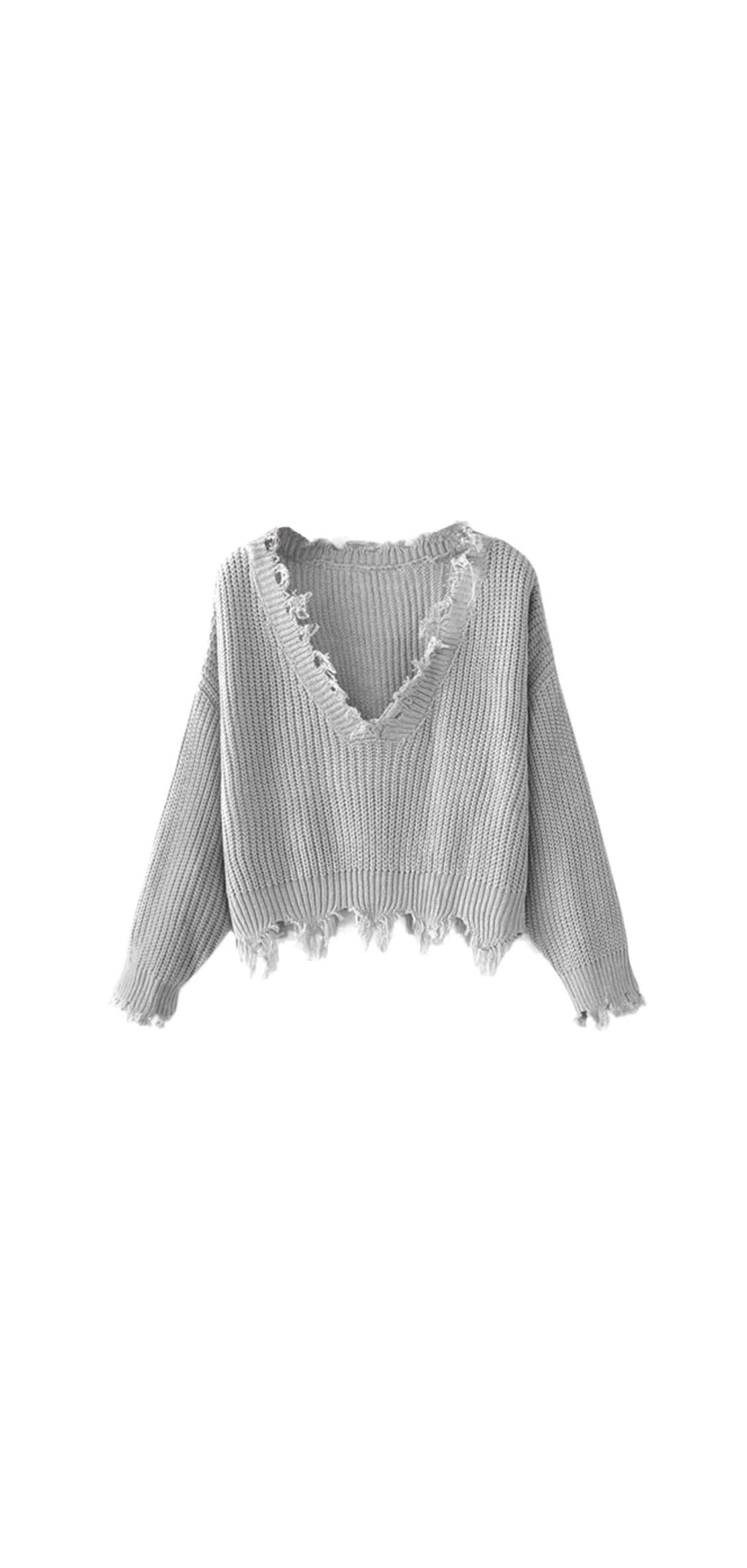 Women's Solid V Neck Loose Sweater Long Sleeve Ripped Crop