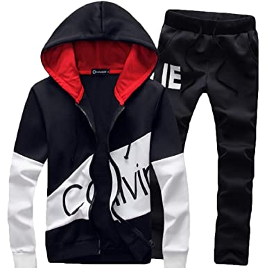 b9325b451 Spirio Mens Print Drawstring Hoodie Jacket 2 Pieces Jogger Pants Sweatsuit  Black 2XL