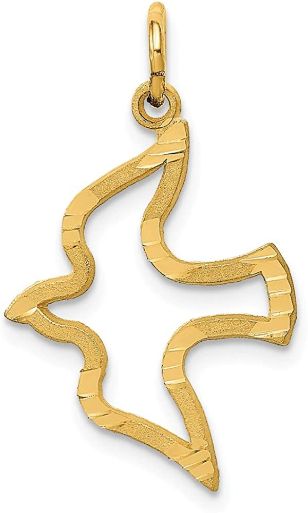 14k Yellow Gold Dove Pendant Charm Necklace Religious Fine Jewelry Gifts For Women For Her