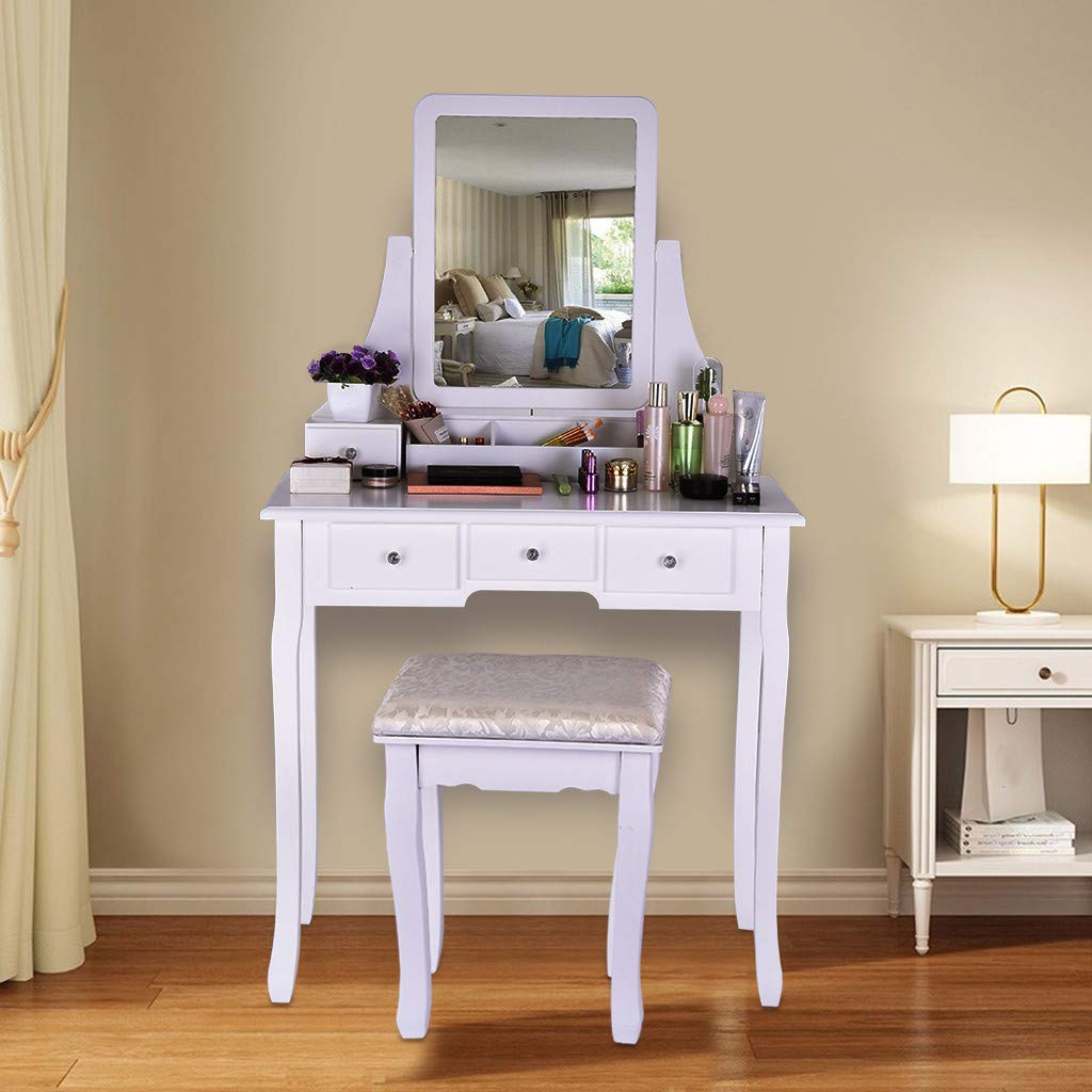 GraPefruiT Vanity Set with Removable Mirror and Cushioned Stool, Dressing Table, Makeup Vanity Table with Vanity Chair, 5 Drawers 2 Dividers Movable Organizers, Easy Assembly, 80 x 40 x 136cm (White) by GraPefruiT