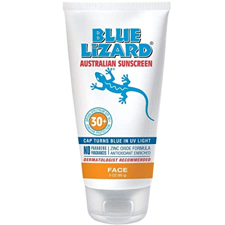 Blue Lizard Face Mineral-Based Sunscreen with Hydrating Hyaluronic Acid SPF 30 UVA UVB Protection, 3 oz. Two Pack