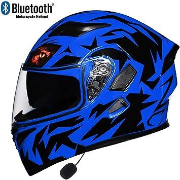 MTTKTTBD Bluetooth Modular Casco Moto con Luz LED,Professionnel Casco Integral con Anti-Fog Doble Visera,Adultos Cascos de Motocross con Micrófono Incorporado,ECE Homologado: Amazon.es: Deportes y aire libre