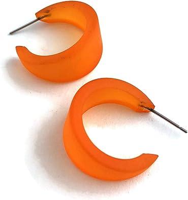 Transparent orange lucite earrings Orange lucite dangle on tortoise shell stud Vintage inspired long dangle earrings