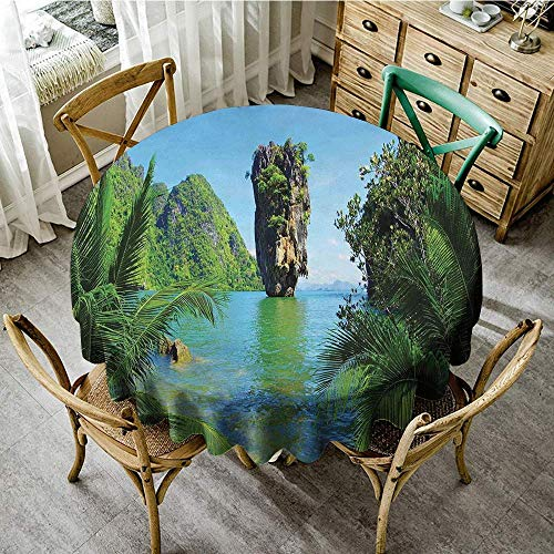 - DONEECKL Round Tablecloth Island James Bond Island Phang NGA in Thailand Filming Cliff Geological Formation Tropics for Kitchen Dinning Tabletop Decoration D39 Green Blue