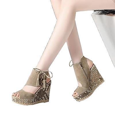 Chaussures 11cm Camel, sandales compensées de bouche de poisson, plate-forme plate-forme plate-forme à talons hauts sexy plate-forme (Couleur : Camel11cm, taille : 35)