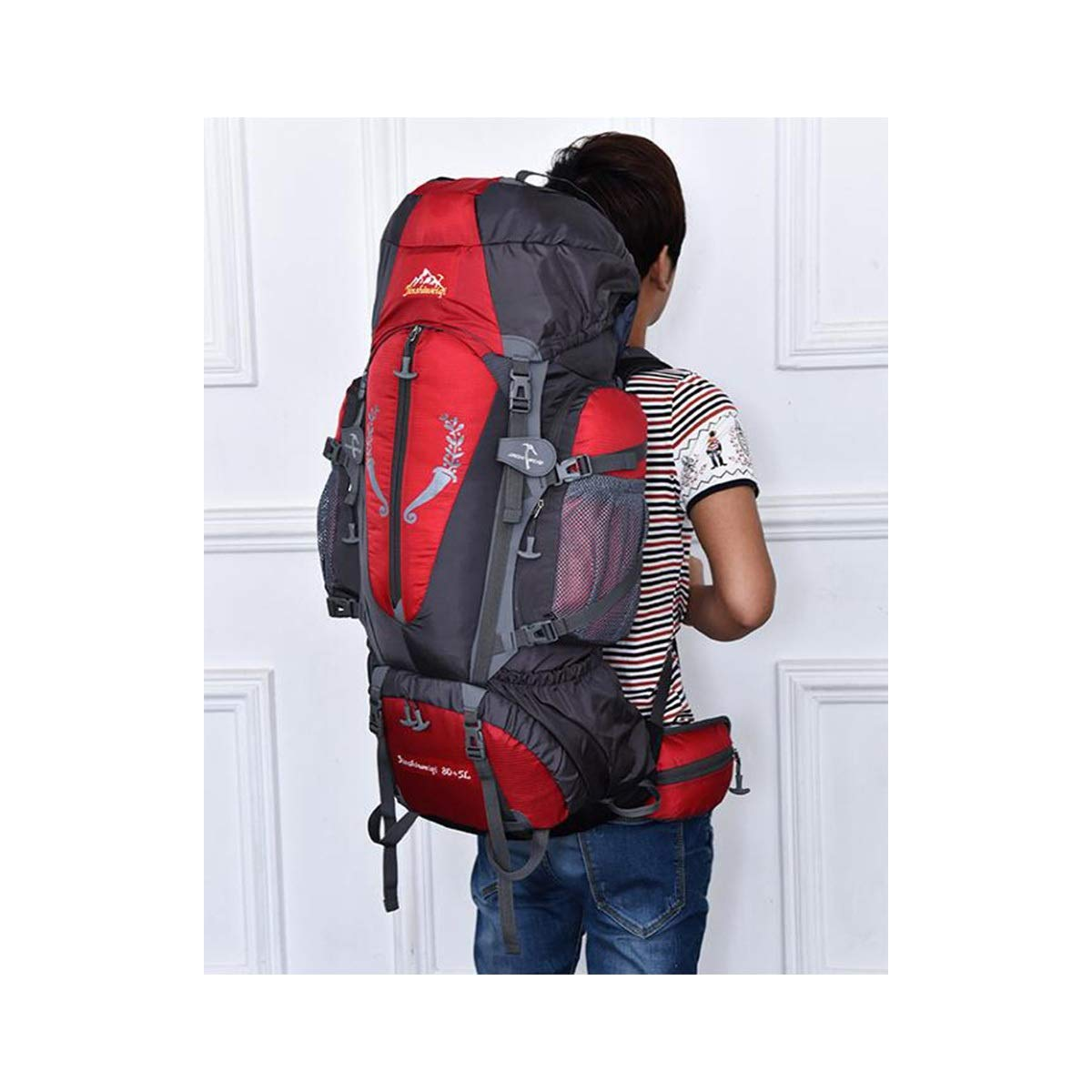 Qingduqijian Internal Frame Backpack Outdoor Waterproof Mountaineering Bag Men and Women Outdoor Hiking Camping Bag -80L Color : Black