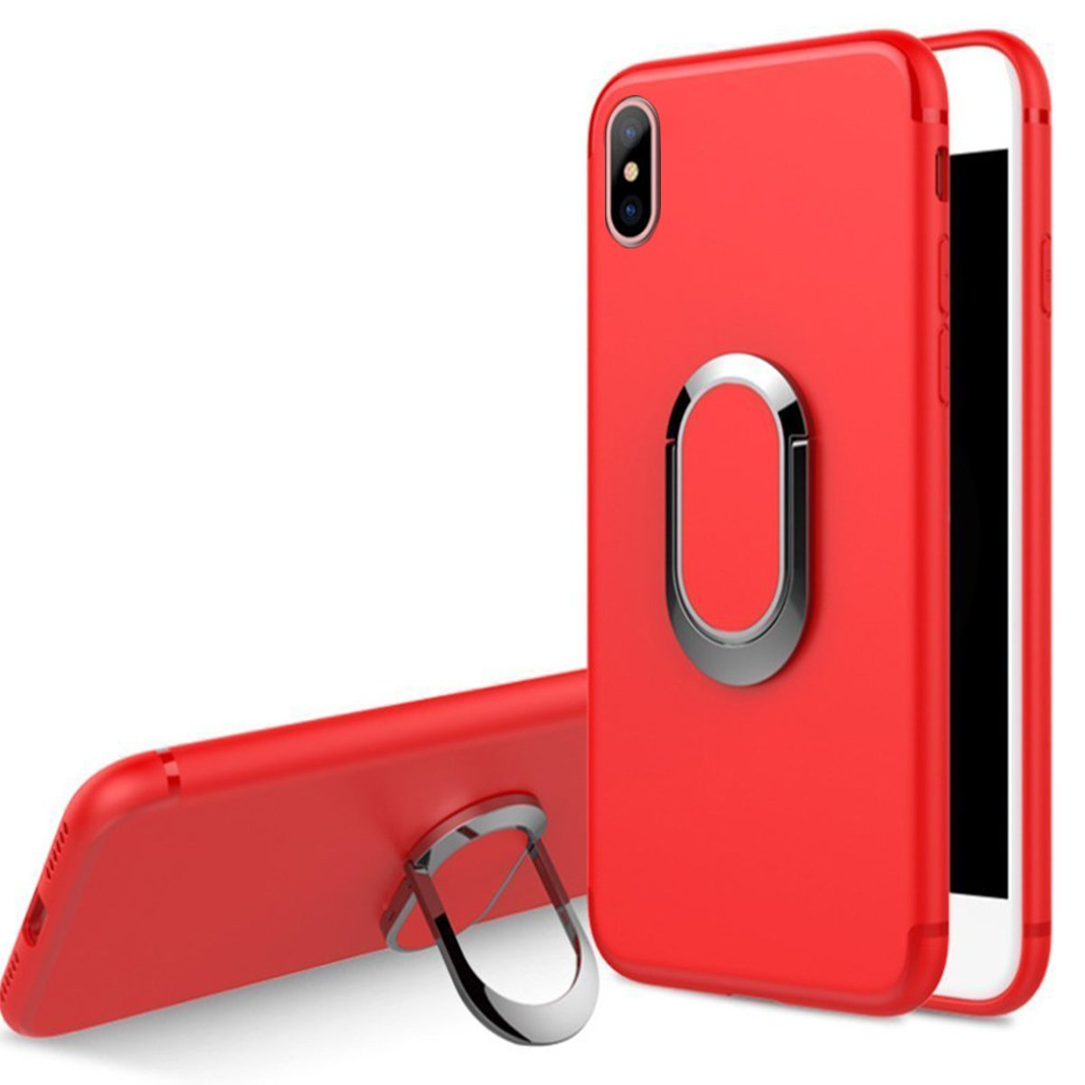 iPhone Xs Case, iPhone X Case, WATACHE Built-in Magnetic Iron 360 Degree Rotating Ring Holder Kickstand Thin Slim Fit Premium TPU Shockproof Protective Case Cover for Apple iPhone Xs/X(Black) APG0032