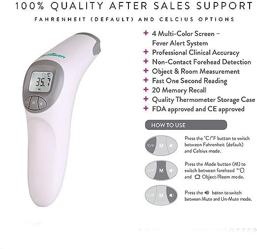 Firhealth Non Contact Infrarot Digital Stirn Thermometer Für Baby Erwachsene Und ältere Menschen 20 Memory Recall Fieber Alarm Ce Und Fda Genehmigt Grau Drogerie Körperpflege