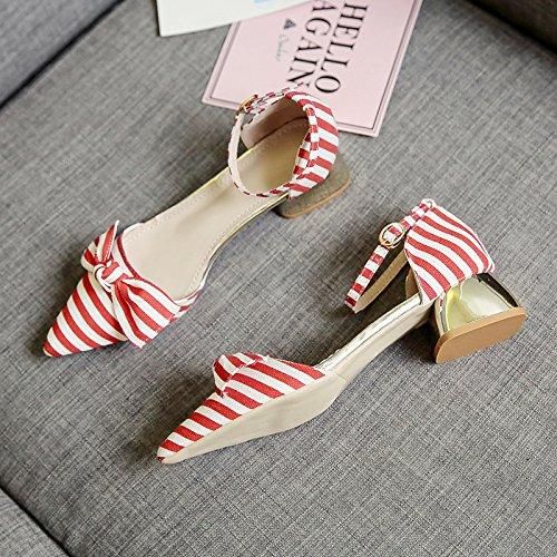 RUGAI-UE Sandalias de Verano Mujer rayas color hebilla zapatos arco Gules