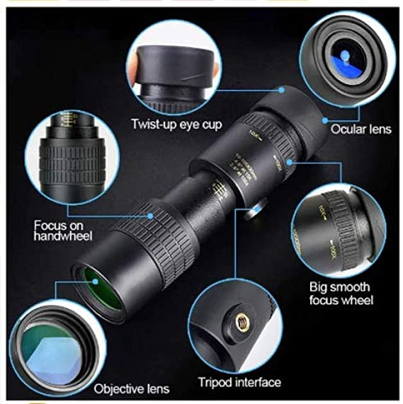 Monocular Telescope for Mobile Phone with Smartphone Adapter Tripod Suit for Hiking Camping Bird Watching Best Gifts for Men 4K 10-300X40Mm Super Telephoto Zoom Monocular Telescope
