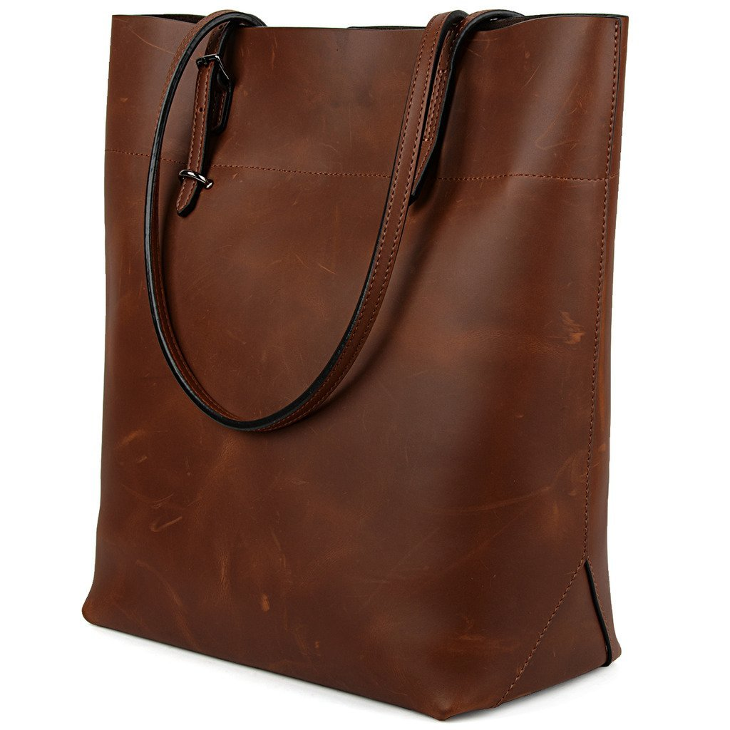 YALUXE Women's Vintage Style Crazy Horse Leather Work Tote Shoulder Bag (UPGRADED 2.0) Deep Brown