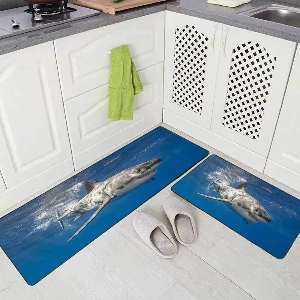 Doocilsh Kitchen Rugs,Kitchen Rugs Washable for Women and Men,17X48+17X24Inches Great White Shark Swimming Just Under The Surface Island Mexico Guadalupe Kitchen Rug