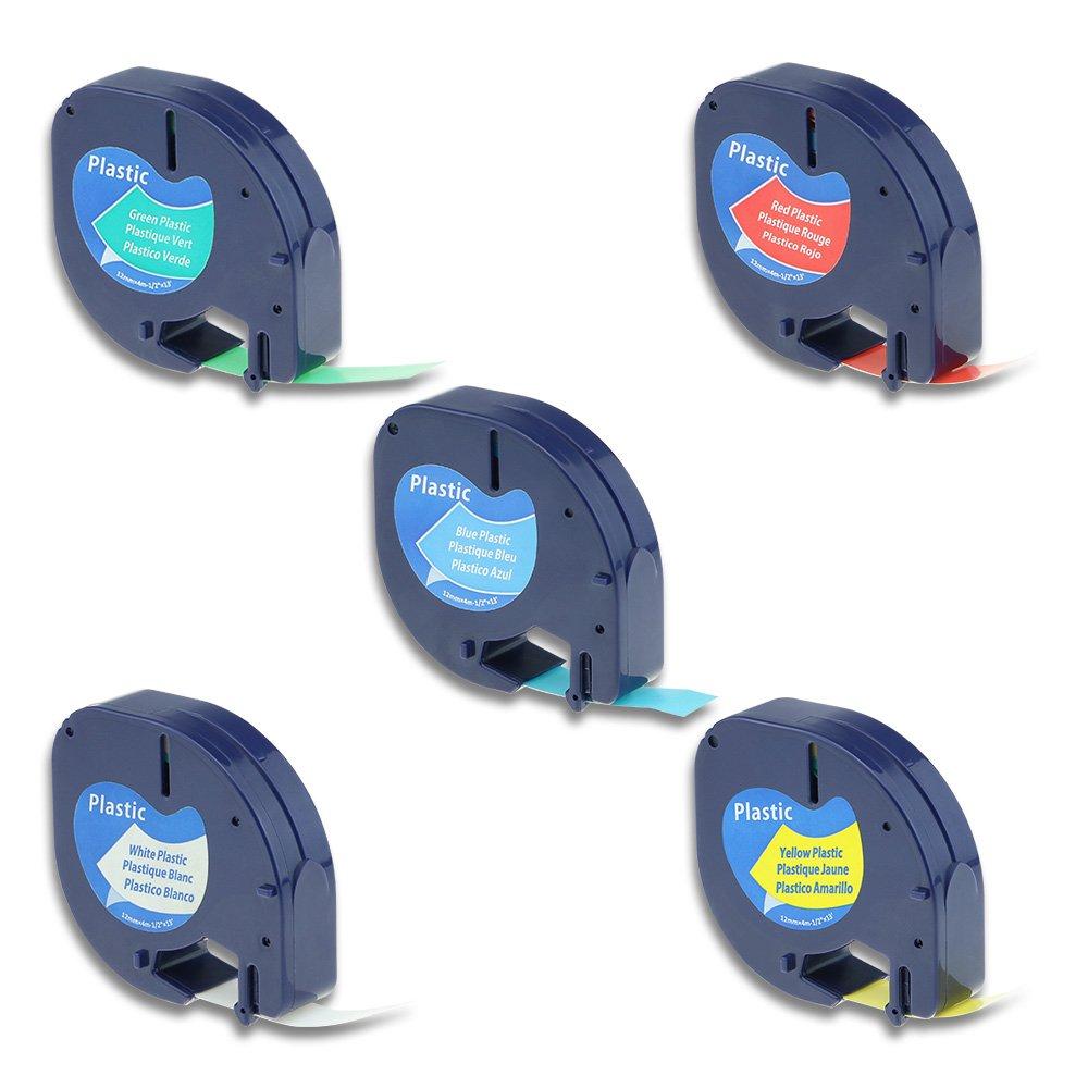 Airmall Lot de 5 Ruban Letratag Équivalent à Étiquette Dymo 91201 S0721610 91202 91203 91204 91205 Plastique 12mm x 4m Compatible avec Dymo LetraTag LT-100H LT-100T LT-110T QX 50 XR XM 2000 Plus