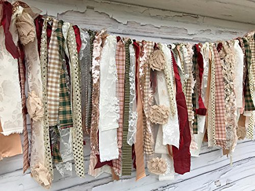 Christmas Shabby Chic Rag Tie Garland: ~ Photo Shoot ~ Wedding ~ Birthday ~ Nursery ~ Bridal Shower ~ Highchair Banner ~ Gender Reveal Parties ~ Decorations ~ Wall Decor! (10 FEET WIDE)