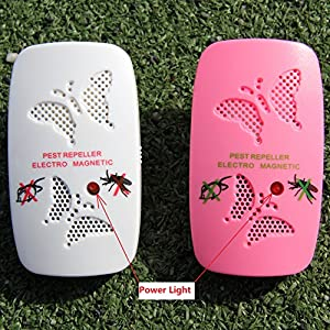 Ultrasonic Pest Repeller - Electronic Pest Control Repel Mice,cockroach,fly,mosquito,ants,spiders,bed Bugs,rodent - Indoor Home Insect Control Repellent Roaches Equipment - Pink & White (White)