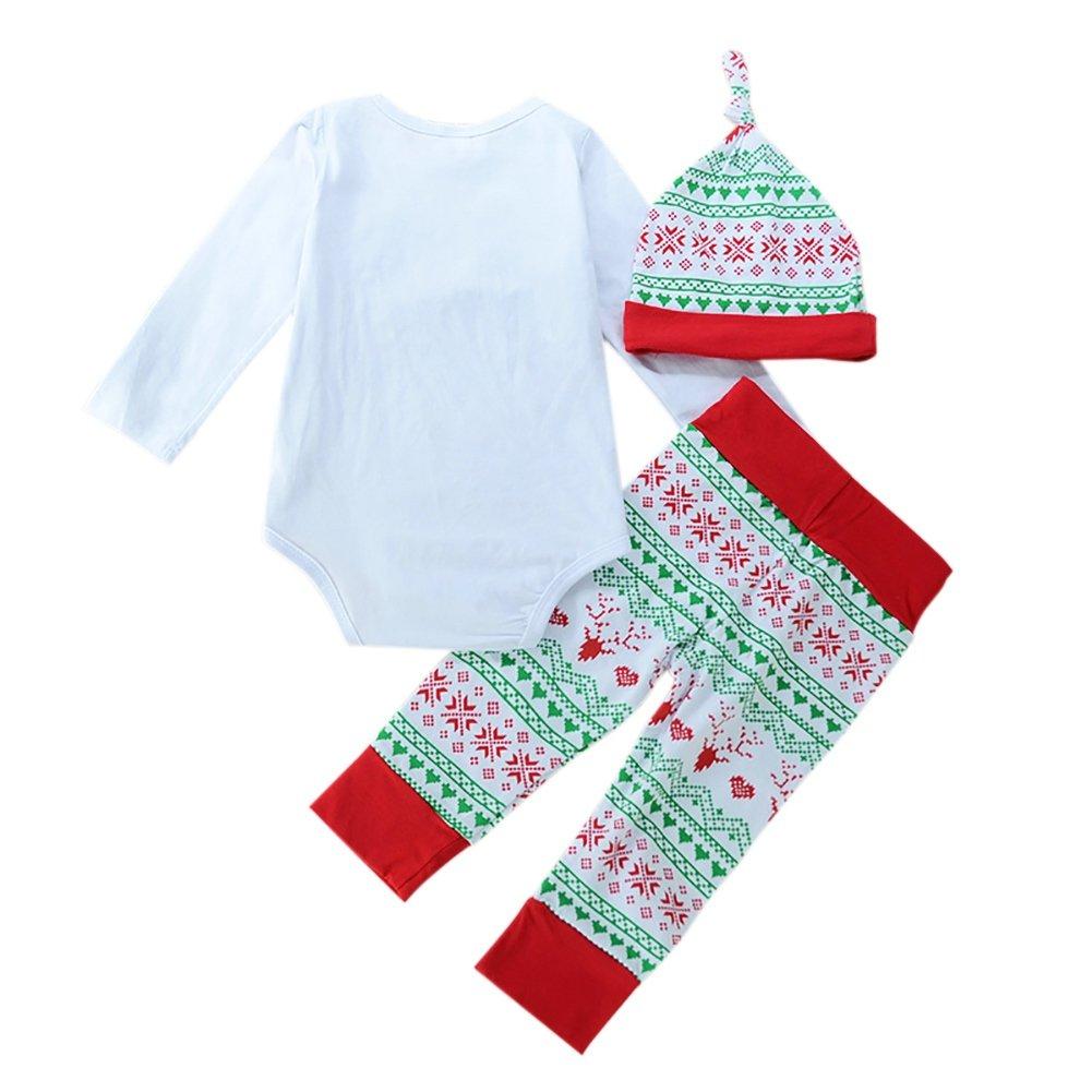 bornbayb bebé Navidad Pelele Conjunto Niños mi primera Navidad sombrero pantalones niñas traje Set 0 - 24 meses Talla:XL(18-24 Months): Amazon.es: Bebé