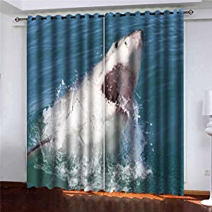 Shorping 52X84 Inch Beautiful Sheer Window Curtains Blackout Window Curtain Panel Great White Shark South Africa Blackout Window Curtain for Bedroom, 2 Pc