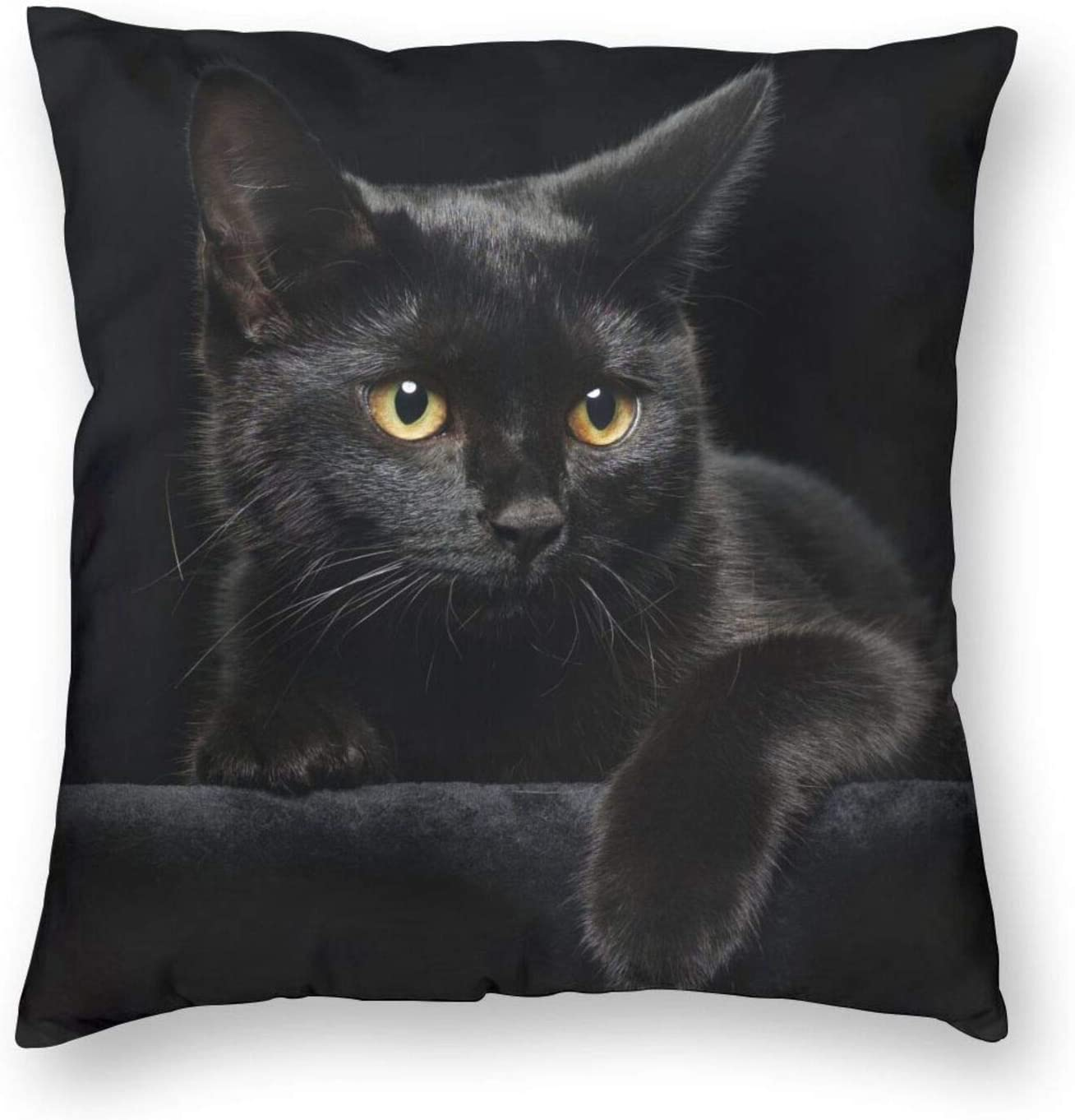 Yaateeh Cute Black Cat with Yellow Eyes Decorative Throw Pillow Covers 18x18 Inch Pillows Case Square Cushion Cover Cases Pillowcase with Zipper Sofa Home Decor for Couch Bed Patio Car