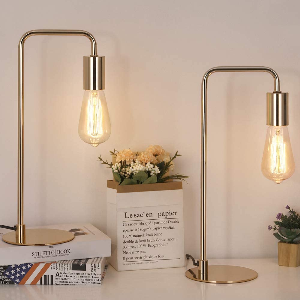 HAITRAL Industrial Table Lamps Set of 2 - Modern Bedside Lamps for Night Table, Bedroom, Office, Dorm, Gold (Without Bulb)