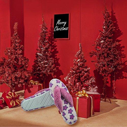 Zapatillas Para Mujer Para Pies Comfort Plush Forro Spa Thong Chanclas Zapatillas Para Interior House Purple Star