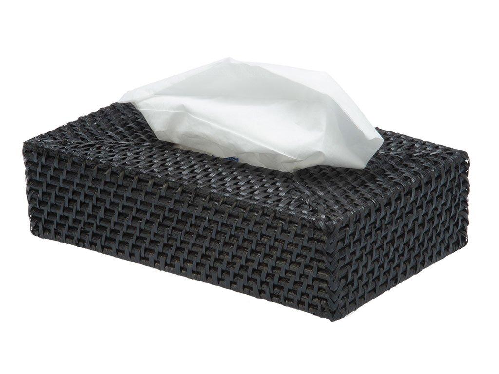 "KOUBOO 1030034 Rectangular Rattan Tissue Box Cover, 9.5"" x 5.75"" x 2.87"", Black"