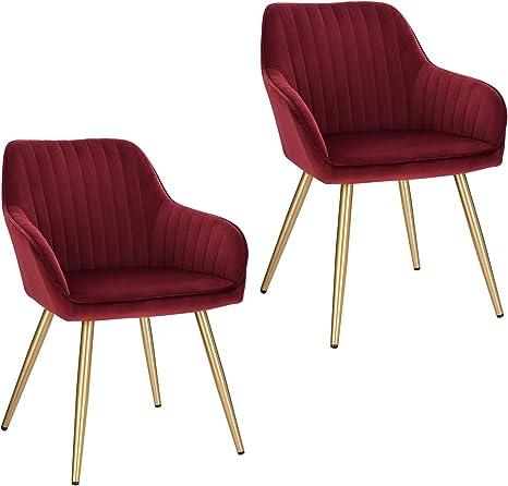 Stuhl Esszimmerstuhl Wohnzimmerstuhl Küchenstuhl Polsterstuhl Retro Metall Rot