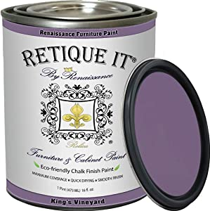 Retique It Chalk Finish Paint by Renaissance, 32oz King's Vineyard - Non Toxic, Eco-Friendly Chalk Furniture & Cabinet Paint - 32 oz (Quart), King's Vineyard