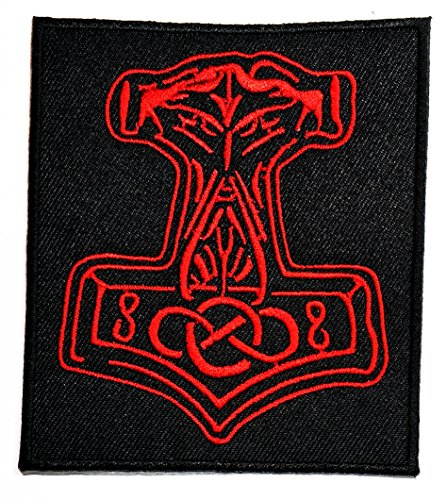 Thor Diy Costume (Black Red Mjolnir Viking Thor Hammer Loki Odin Skins Patch Music Band Heavy Metal Punk Rock Logo iron on sew on patch Jacket T Shirt Patch Sew Iron on Embroidered Symbol Badge Cloth Sign Costume)