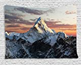 Cheap Ambesonne Apartment Decor Tapestry, Evening of South Asian High Mountain Above The Sky with Colorful Lights Nepal Everest Photo, Wall Hanging for Bedroom Living Room Dorm, 80 W X 60 L Inches, Multi
