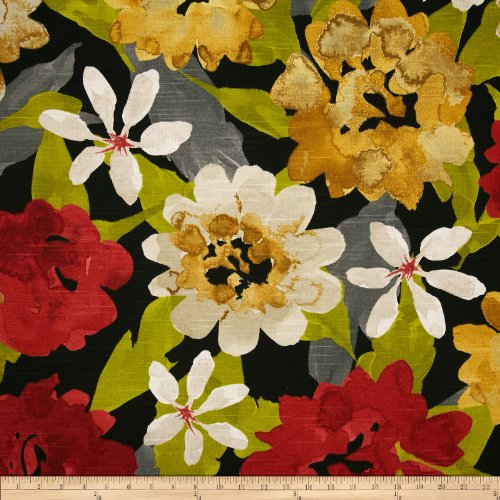 Robert Allen @ @ Home Lush Floral Slub Fabric, Red - Upholstery Fabric Floral