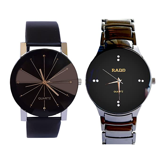 VITREND(R-TM) New Attractive Looking Diamond Dial & Official Looking RADD Analog Combo Watches for Couple