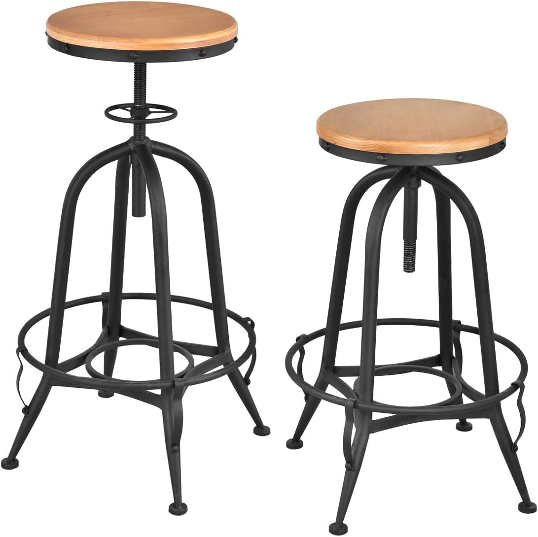 COSTWAY Set of 2 Counter Height Bar Stools, Swivel Adjustable, Metal Frame Side Chair with Round Wood Top, Industrial Barstool with footrest Ideal for Pub Bistro Kitchen Dining