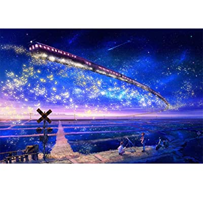 "Puzzle for Adults & Fun Fact Poster 1000 Piece Fit Together Perfectly Multi 3020"" Luminous Train Under The Stars: Toys & Games"