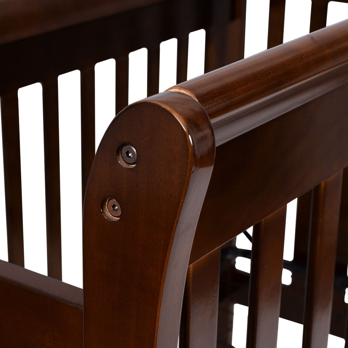Coffee Pine Wood Baby Toddler Bed Convertible Crib Nursery Furniture Children by Happybeamy (Image #4)