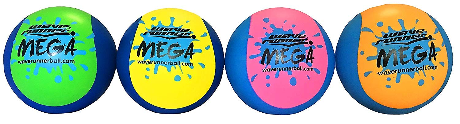 Wave Runner Mega Ball #1 Water Ball for Skipping and Bouncing The Perfect Pool Ball and Ocean Ball (6-Pack)