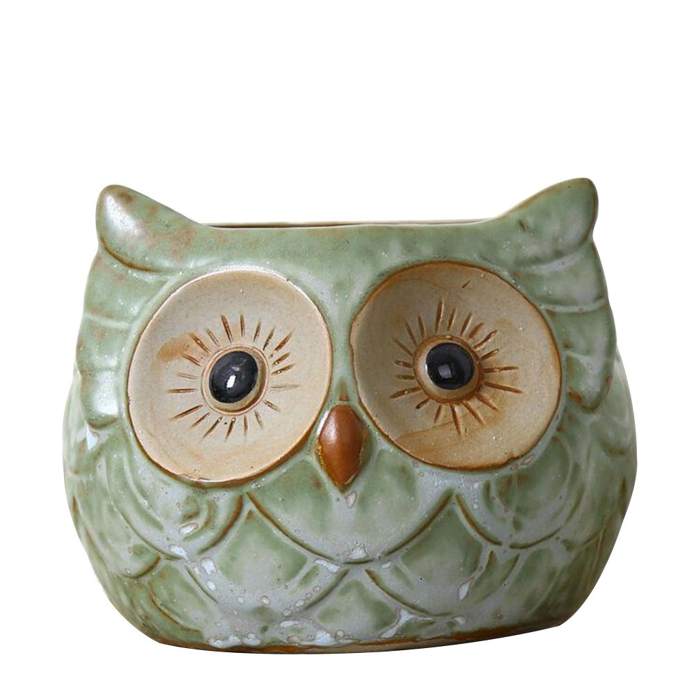 VORCOOL Small Owl Retro Decorative Pored Ceramic Crafts Creative Succulents Pots Decoration