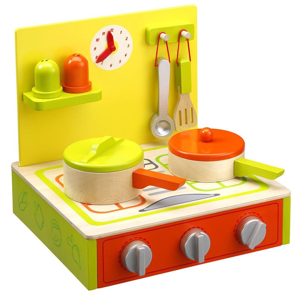 Tisch Kinderküche   Holz  Herdplatten  Set Mit Töpfen Und Zubehör  30x28x29cm: Amazon.de: Spielzeug