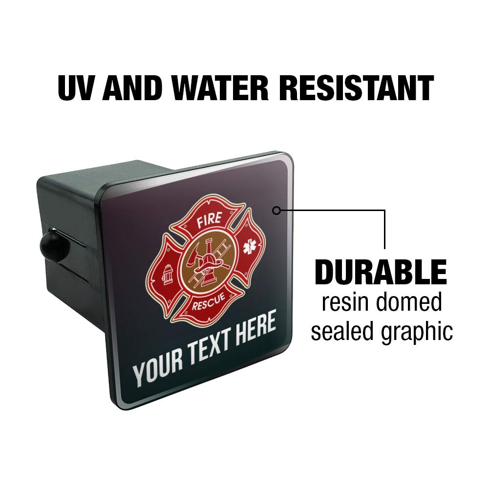 Graphics and More Personalized Custom 1 Line Firefighter Maltese Cross Fire Rescue Tow Trailer Hitch Cover Plug Insert