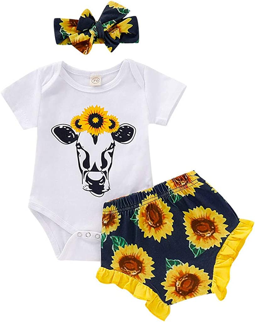 Pants Bow Headband TIANRUN Newborn Baby Girl Toddler Outfits with White Cow Sunflower 3pcs Long Sleeve Romper
